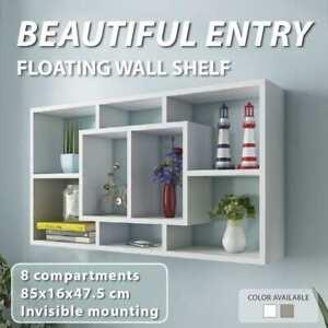 vidaXL Floating Wall Display Shelf 8 Compartments Storage Decor White/Oak