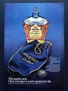 foto de 1973 Vintage Print Ad SEAGRAM'S CROWN ROYAL Purple Sack Bottle Image Photo