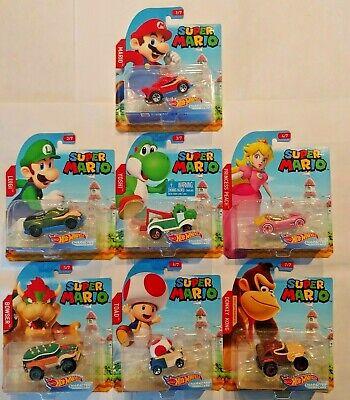 Princess Peach Bundle Diddy Kong Hot Wheels Mario Kart 4 Car Set- Yoshi Baby Mario