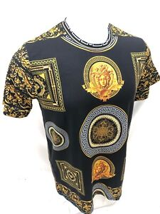 Homme-prestigieux-a-manches-courtes-Black-Gold-Medusa-Head-Silky-Shirt-feuille-d-039-or-110