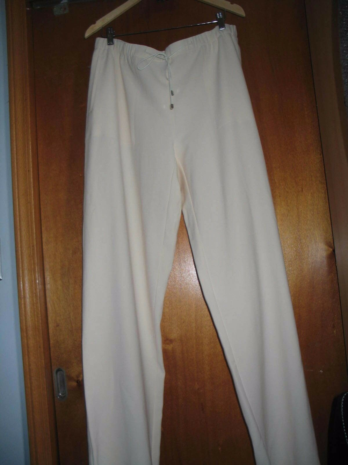 NEW Marina Rinaldi Cream wide leg trousers  pants with elastic  MR 27  US 18-20