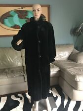 J Percy for Marvin Richards Reversible Black Faux Fur Full Length Coat Woman's L