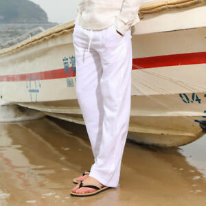 Summer-Linen-Thin-Trousers-Casual-Travel-Loose-Fit-Men-039-s-Beach-Pants-W28-034-42-034