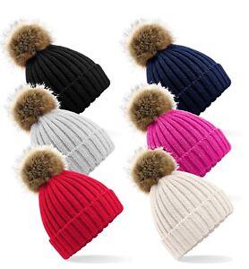 Adults-Warm-Soft-Chunky-Knit-Ski-Hat-Beanie-with-Faux-Fir-Fur-Bobble-Pom-Pom