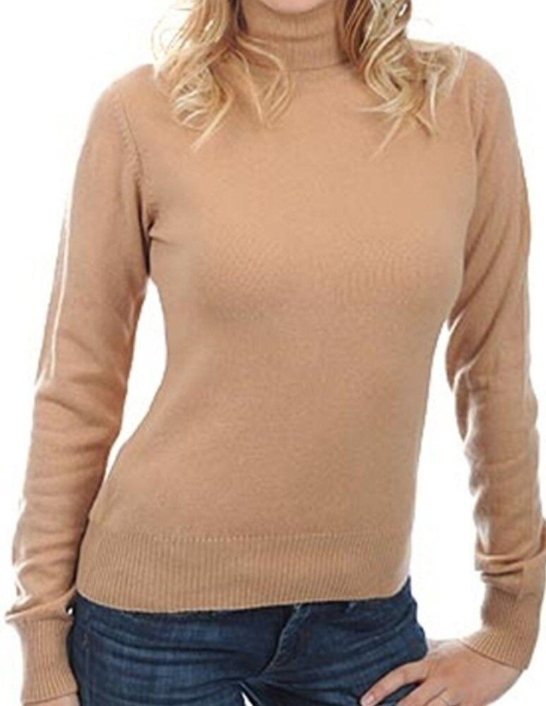 Balldiri 100% Cashmere Damen Pullover Rollkragen mit Bündchen camel S