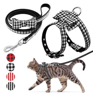 Bowknot-Cat-Walking-Harness-and-Leash-Set-Escape-Proof-Adjustable-Chihuahua-SML