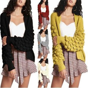 2d5a6dcedc Image is loading Ladies-Open-Front-Bobble-Sleeve-Knitted-Cardigan-Women-