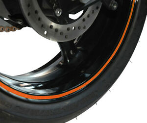 Capable Strisce Adesive Cerchi Adesivi Ruota Cerchione Arancioni Per Moto Naked à Vendre