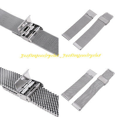 HQ Men Women Stainless Steel Clasp Buckle Watch Band Belt Strap 18/20/22/24 mm