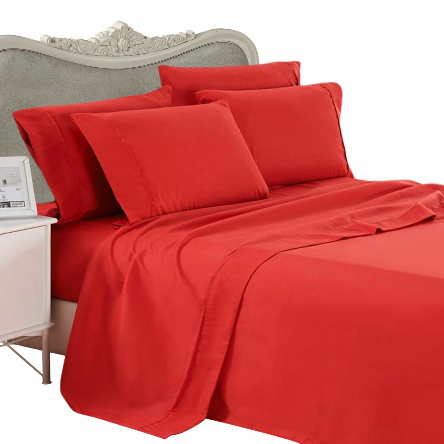 1000 Thread Count 100% Egyptian Cotton Bed Sheet Set 1000 TC KING Red Solid