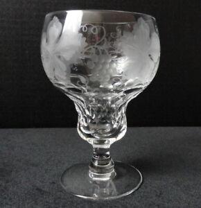 "Vintage VAL ST LAMBERT Clear Cut Crystal 4 3/4"" WINE Glass / Stem VIGNES Grapes"