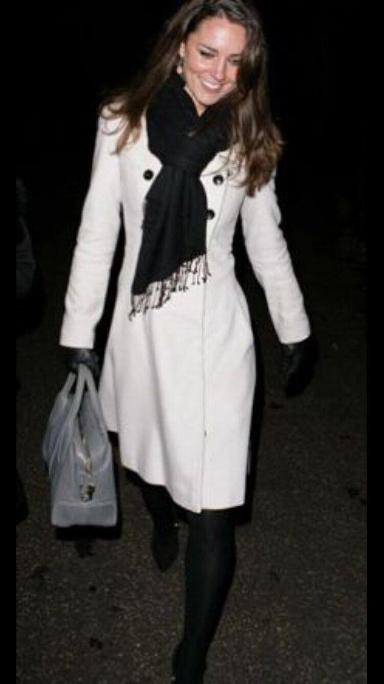 Somerset,Alice Temperley 16 White Wool and Cashmere Coat, Duchess Fav. Designer