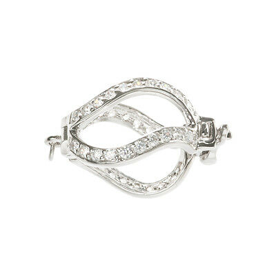 Sterling Silver - Rhodium Finish Pearl Cage Clasp 11mm With 40 CZ Stones