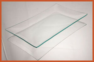 "6"" x 10"" Rectangle Clear Glass Plate Shallow ""BENT""  1/8"""