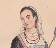 Gravure XIXe Femme Vigo Espagne Costume Province Pontevedra Galice España 1848
