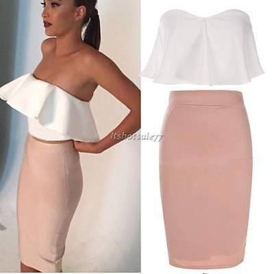 Sexy Women's Dress Ruffled Crop Top Pencil Skirt Two Piece Bodycon Bandage Set