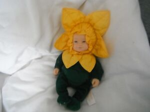 "Anne Geddes Tournesol/daffodil Baby Beanie Collection Doll 9"" 1997.-afficher Le Titre D'origine Pratique Pour Cuire"