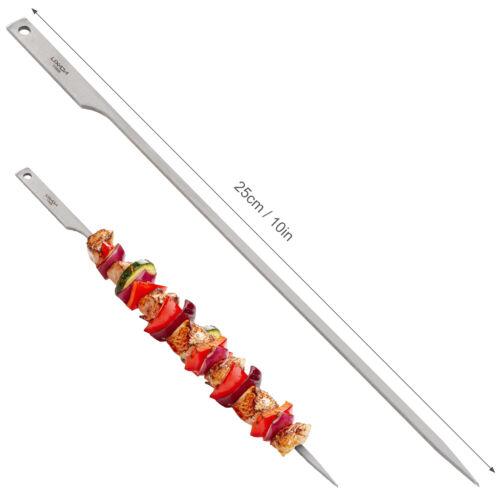 Lixada 10/'/' Flat Titanium Barbecue Skewers Outdoor BBQ Grilling Kabob Stick
