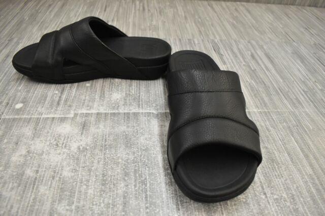 **FitFlop Freeway Pool Slide L66-001-070 Sandals, Men's Size 8, Black