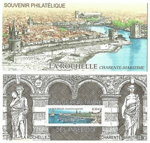 Timbres-France-Bloc-Souvenir-2009-N-44-Le-Plus-Beau-Timbre-de-l-039-Annee-2008