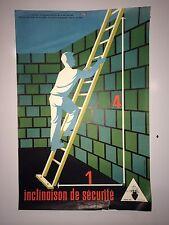 Original Vintage French Safety Poster Inclinaison De Securite Trochon 63