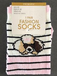 Damen Socken Pudel Hund Strümpfe 37-42 Tier Hund Motiv Rosa Schwarz Weiß Primark
