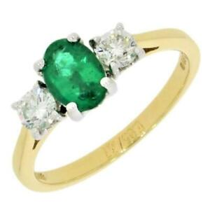 18ct-Yellow-Gold-0-65ct-Emerald-0-37cts-Diamond-3-Stone-Ring-RB11