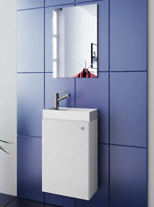 Wash Room White Sink With Cabinet Mirror Wc Guests Toilet Small Narrow Ebay