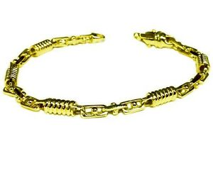 14kt-Solid-Yellow-gold-Handmade-Link-Men-039-s-Bracelet-8-5-034-5-MM-19-grams