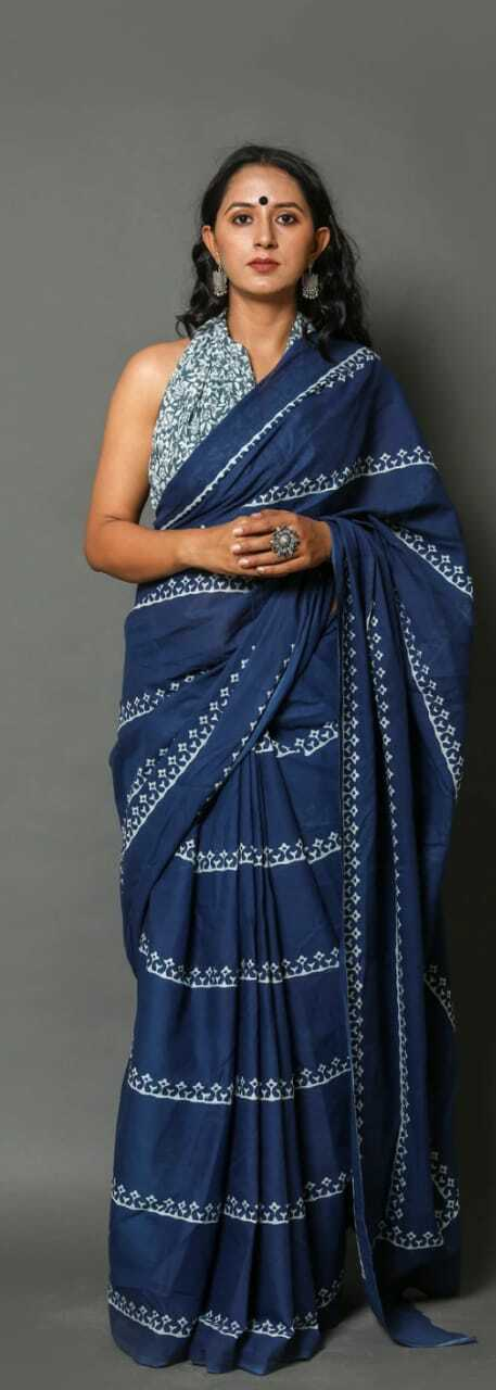 Sari For Women Vintage HandMade Blue Printed Pure Cotton Saree With Blouse Piec