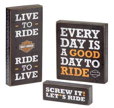 Harley Davidson Wooden Motto Pub Sign Trio Set of 3 Man Cave Birthday Gift