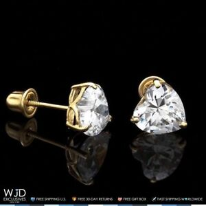 1Ct-Created-Diamond-Heart-Solid-14K-Yellow-Gold-Stud-Screw-Back-Earrings