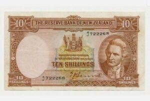 1940-55-NEW-ZEALAND-10-Shillings-034-EF-034-HANNA-158a-039-Rare-039