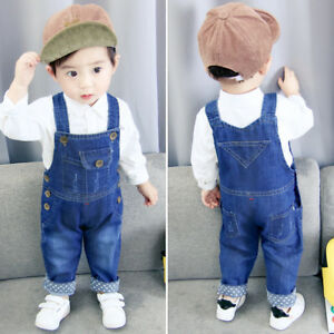 7844d223cab Image is loading Autumn-Children-Boys-Jeans-Overalls-Kids-Baby-Girl-