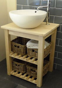Image Is Loading Washstand Solid Birch Freestanding Vanity Unit For Bathroom