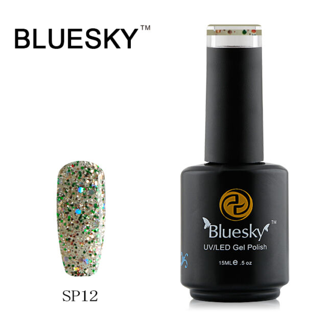 SP12 Bluesky Salon Nail Polish UV GEL Glaze Crystal Green Gold Glitz