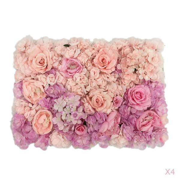 4pcs Handmade Artificial Flower Wall Panels Wedding Decoration 60 X 40cm