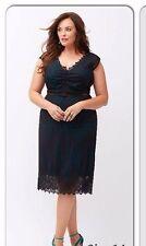 New Lane Bryant $99 Black & Teal Scalloped Lace Overlay Sheath Dress Plus 20 2X