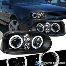 For 1993-1998 VW Golf Mk3 1995-1998 Cabrio Black Halo Projector Headlights Lamps