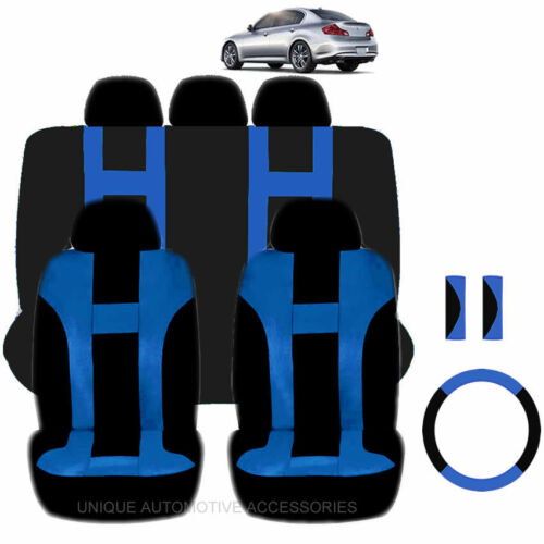 NEW BLUE /& BLACK POLYESTER SEAT COVERS /& STEERING COMBO 12PC SET FOR CARS 2323