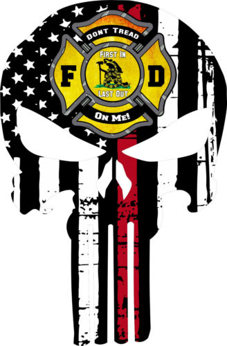 Various Sizes Thin Red Line Punisher Decal Don/'t Tread on me Maltese Cross
