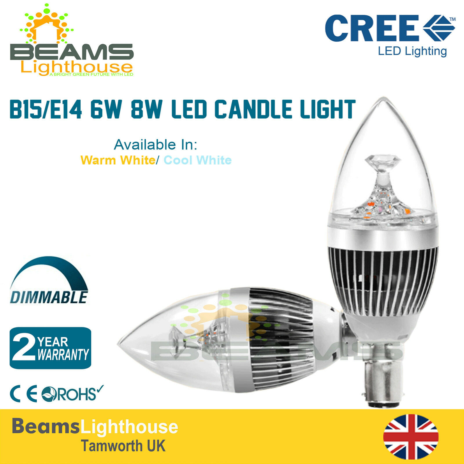 Dimmable E14 Small Edison Screw B15 Small Bayonet Cap LED Candle Light Lamp Bulb