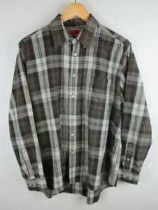Thomas Cook Mens Shirt Size M Long Sleeve Button Up Regular Fit Plaid Brown