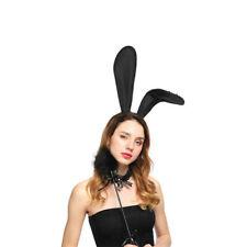 Halloween Costume Party Rabbit Bunny Ears Headband With Lace Eye Mask Black UK
