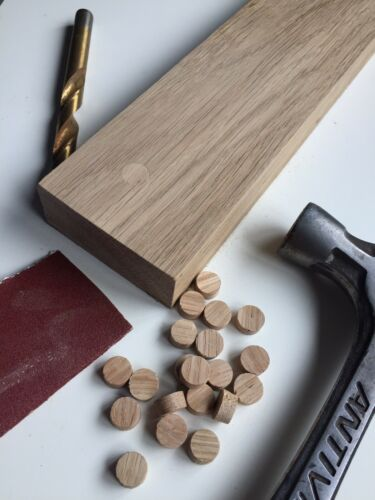 """European Oak 9mm 50 Oak Plugs 1//2"""" Tapered Oak Plugs Oak Pellets."""