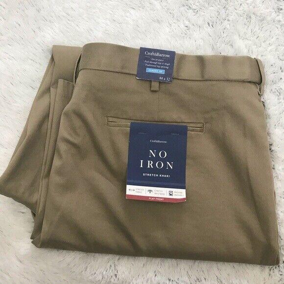 NEW w Tag-Croft & Barrow Classic Fit No Iron Stretch Khaki Pants 44x32