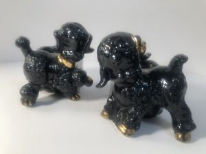 Pair of 2 Vintage Shawnee USA 724 Black Gold Trim Lamb & Poodle Dog Planters