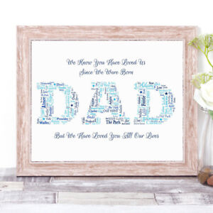 Image Is Loading Personalised DAD Word Art Wall Print Gift For