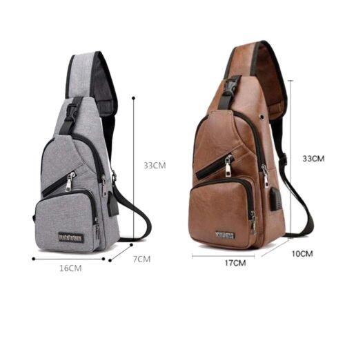 Men Canvas Travel Hiking Cross Body Messenger Shoulder Back pack Sling Chest Bag