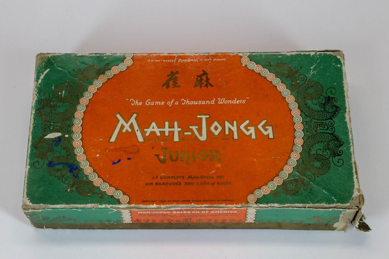 MAH-JONGG JR. VINTAGE 1923 Boxed Game Set Made in San Francisco USA
